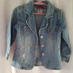 Levis girls trucker jacket 4 Blue denim embroidere